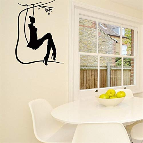 Salon Girl On Swing Silhouette Art Design Etiqueta de la Pared Vinilo Mural Home Bedroom Sweet Decor Quality Wallpaper D 25 * 38Cm