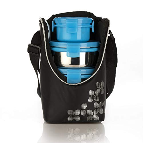Cello Max Fresh Click Steel Lunch Box Set, 300ml, 4-Pieces, Blue