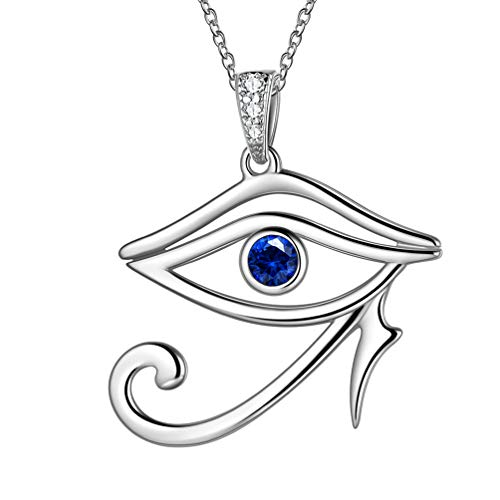 Eye of Horus Necklace 925 Sterling Silver Blue Sapphire Birthstone Ra Eye Pendant Ancient Horus Eye of Ra Necklace Statement Amulet Jewellery Best Gift Idea FP0011WV