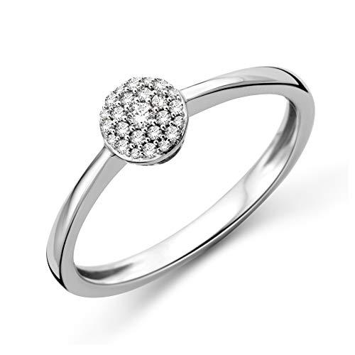 Miore Ring Damen Diamant Pavé Verlobungsring Weißgold 9 Karat / 375 Gold Diamanten Brillanten 0.09 Ct, Schmuck