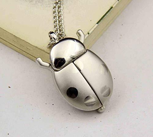Reloj de bolsillo con diseño de carabro, con cadena para mujer, color plateado
