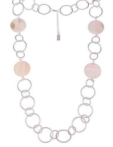 Leslii Damen-Kette Statement Glieder-Kette echte Perlmutt-Kette lange Halskette silberne Modeschmuck in Silber Weiß Matt