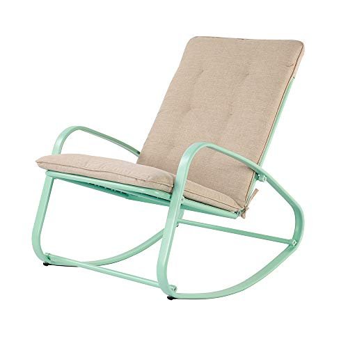 OC Orange-Casual Patio Furniture Rocking Chairs with Removable Paded Beige Cushion, Outdoor Metal Reclining Rocker, Turquoise