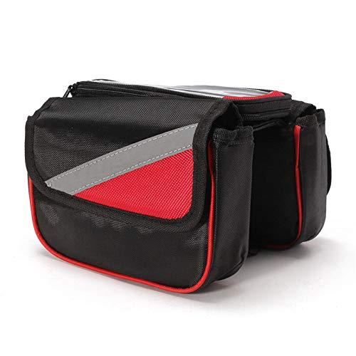 Chengzuoqing Bolsa para cuadro de bicicleta con pantalla táctil, soporte para bolsa de sillín de menos de 5,7 pulgadas (tamaño: 20 x 13 x 16 cm), color rojo