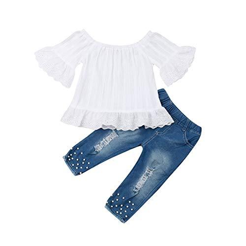 Geagodelia Kinder Mädchen Sommer Outfit 2PCS Kurzarm Bluse + Lang Denim Jeans Hosen 1-6 Jahre Schulterfrei Top Babykleidung Set Baby Mädchen Kleidung (Weiße Oberteile + Jeanshose, 5-6 Jahre)