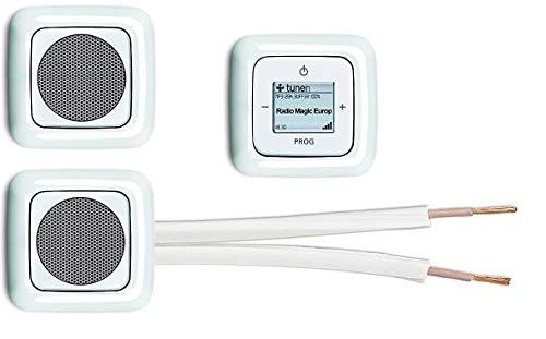 Busch Jäger Unterputz WLAN iNET Internetradio 8216 U (8216U) alpinweiß + 2 x Lautsprecher + Radio + Bedienelement + 3 x 1fach Rahmen + 10 m Lautsprecherkabel 2x0,75 mm²