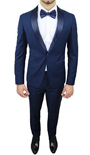 Abito Completo Uomo Sartoriale Blu Elegante Tessuto Raso Nuovo Slim Fit Aderente (44, Blu)
