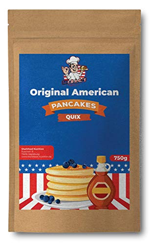 Sharkfood Backmischung für fluffige Pancakes 750 g - Mix für schnelle, einfache Zubereitung - American Pancakes u. Pfannkuchen - Dessert Mischung mit pflanzlichen Protein