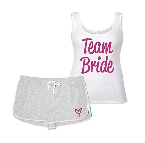 Pyjama-Set für Junggesellinnenabschied, Junggesellinnenabschied, Hochzeit, Loungewear, Grau und Weiß Gr. X S, grau