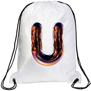 IMPRESS Drawstring Sports Backpack White with Night Chrome Letter U