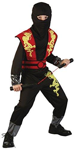 Magicoo Drago Ninja Costume per Bambini Ragazzi Rosso Nero Taglie: 4-12 Anni – Costume di Carnevale Travestimenti Ninja Ragazzo (7-9 Anni)