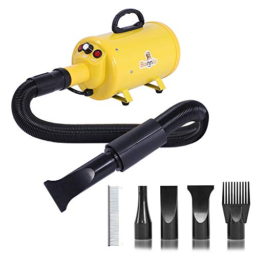 Bonnlo 2400W 3.2HP Stepless Adjustable Speed Pet Dryer Dog Hair Dryer Pet Grooming Blower with Heater Quick - 4 Different Nozzles (Single Motor)(Yellow)