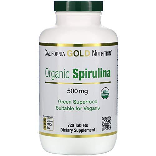 California Gold Nutrition Spirulina USDA Certified Organic Vegetarian 500 mg 720 Tablets, Egg-Free, Fish-Free, Gluten-Free, Milk-Free, Organic, Peanut Free, Soy-Free, Shellfish Free, Treenut Free, CGN