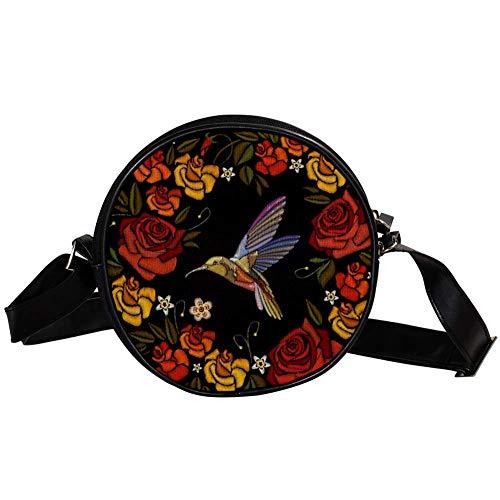 Bennigiry Damen Umhängetasche, rund, mit buntem Blumen, Kolibri-Druck, Schultertasche, Tragegriff