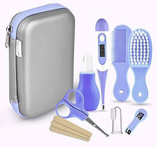 Babypflege Set, 8-teiliges Set für Baby Alltag Pflege Mit Baby Gesundheitswesen Kit mit Thermometer Nasensauger Pipette Feeder Nagel Haarpflegeset, Fingerzahnbürste Nasenpinzette (Blau)
