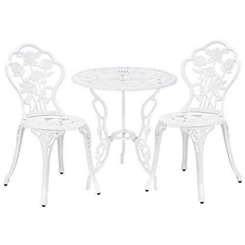 casa.pro Set Bistro Hierro Fundido Mesa + 2 sillas Blanco Look Antiguo Muebles para jardín, terraza, balcón
