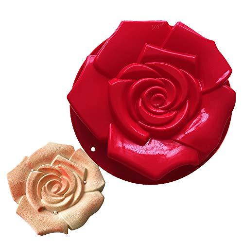 Joyeee Grand Moule à Kouglof en Silicone, Moule en Silicone a Forme de Rose Fleur pour gâteau, Tarte, flan, Pain, Muffin, Savon et Plus - Anti-adhésif pour fête d'anniversaire Artisanale, 30cm