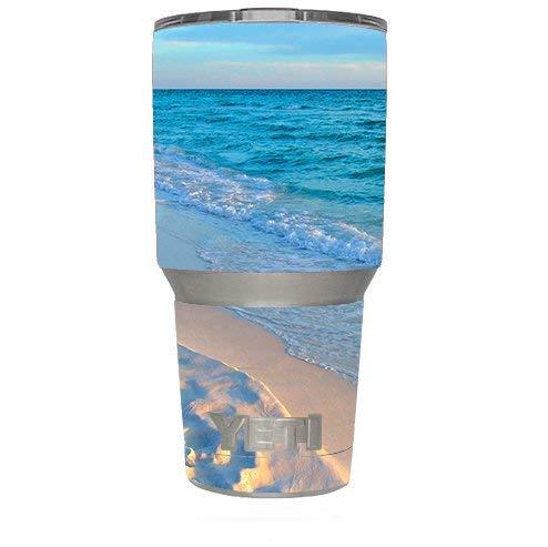 Skin Decal Vinyl Wrap for Yeti 30 oz oz Tumbler Cup (6-piece kit) / Beach white sands blue water
