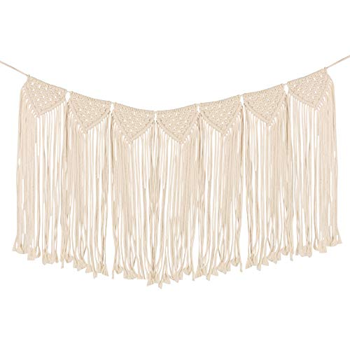 Macrame Tapestry Wall Hanging - Large Wall Decor Cotton Rope Fringe Garland Banner Woven Boho Wall Art Decoration for Home Living Room Bedroom Wedding Party Backdrop Decorative Tassel -90x38 cm