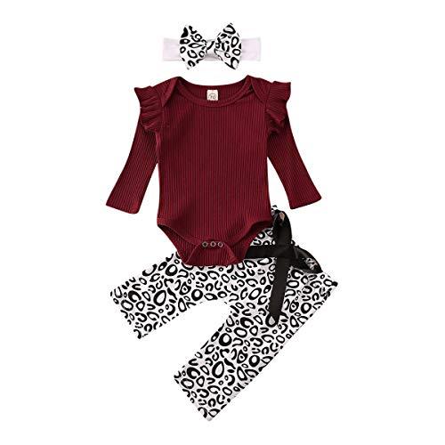 Geagodelia Babykleidung Set Baby Mädchen Langarm Body Strampler + Leopard Hose + Stirnband Neugeborene Kleinkinder Warme Babyset Kleidung (3-6 Monate, Weinrot)