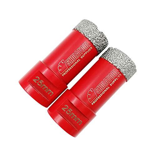 SHDIATOOL Broca de Diamante 2PC 25MM Vacío Soldadura para Perforación en Seco Porcelana Azulejo Granito Mármol M14