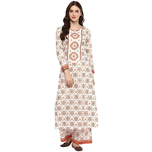 Off White Colored Gold Printed Cotton Long Kurta With Pala
