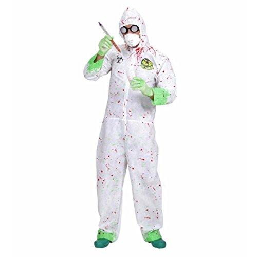 NET TOYS Biohazard Schutzanzug Seuchen Strahlenanzug M/L 50/52 Halloween Schutzoverall Halloweenkostüm Erwachsene Wissenschaftler Chemiker Kostüm Zombie Strahlenopfer Outfit