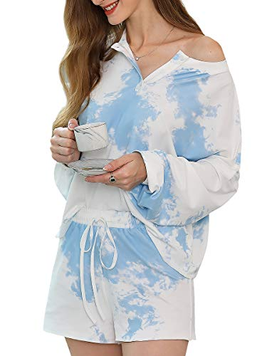 Ever-Pretty Tie-Dye Conjunto de Pijama Mujer Camiseta y Pantalones Cortos Casuales Loungewear Verano Azul 4XL