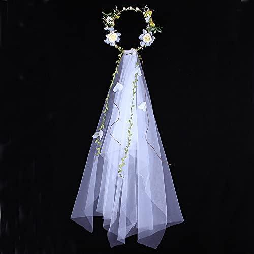 xunyang Romantic Garland Bridal Veil Max 55% OFF New popularity Hand Crown Flower Hairbands