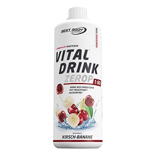 Best Body Nutrition Vital Drink ZEROP - Kirsch-Banane, zuckerfreies Getränkekonzentrat, 1:80 ergibt 80 Liter Fertiggetränk, 1000 ml