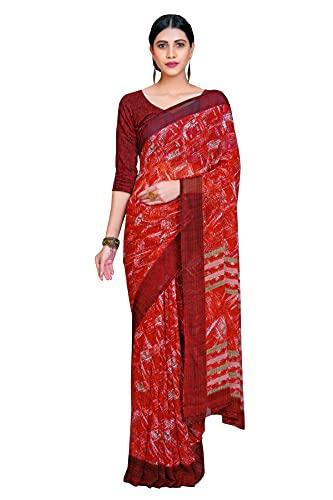 Jaanvi fashion Geométrico Impreso Pure Georgette Sari con Blusa, Rojo-c, talla única