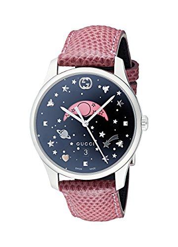 Gucci Damen Mondphase Quarz Uhr mit Leder Armband YA1264046