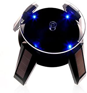 SinLoon Rotating Display Stand Solar, Solar Powered Jewelry Phone Watch 360° Rotating Display Stand Turn Table with LED Light (Black)