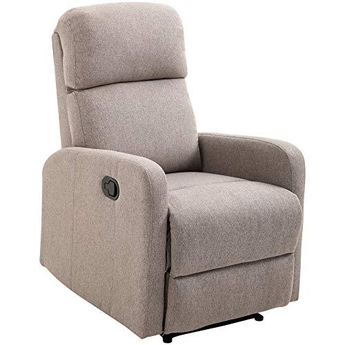 HOMCOM Relaxsessel Liegesessel Couch-Sessel Liegen Neigungswinkel 168 ° leinen Grau L95 x B66 x H99 cm