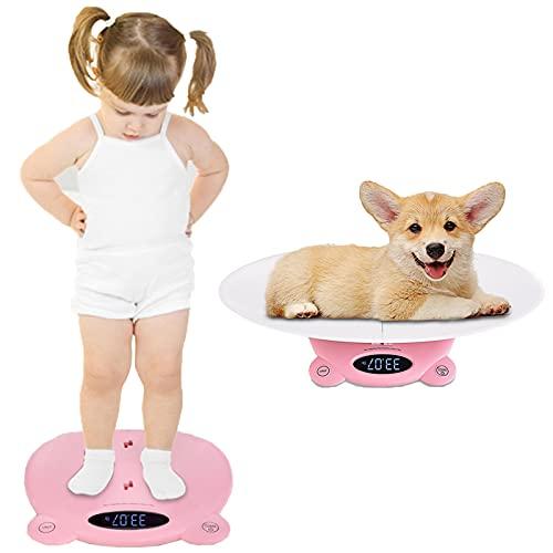 DDHVVOH Bascula para BebéS Y Mascotas,Balanza Digital con Pantalla LCD Retro Iluminada Y Tallimetro con FuncióN Tara,Ideal para Calcular El Peso de Su Bebe ReciéN Nacido Capacidad