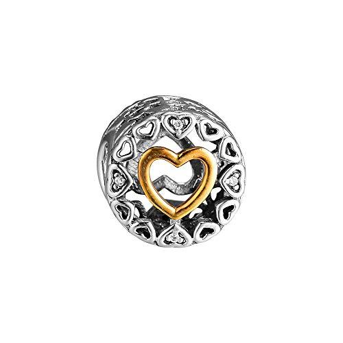 LIIHVYI Pandora Charms para Mujeres Cuentas Plata De Ley 925 Real Loving Circle Clear Jewelry Compatible con Pulseras Europeos Collars