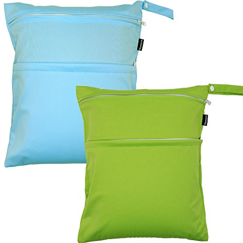 Damero 2 Pack Travel Wet Dry Bag Organizer with 2 Pockets and Handle for Cloth Diaper, Baby Clothes, Pumping Parts, Swimsuit and More, Cute and Spacious, Easy to Grab and GO(Medium, Green+Light Blue)