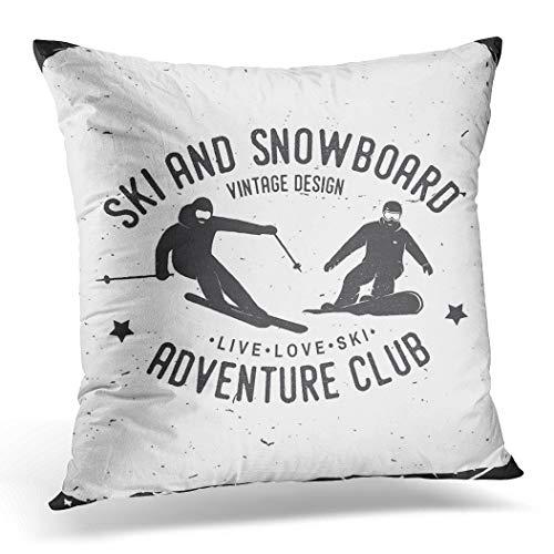 Awowee Kussensloop 45x45cm/18x18inches Ski en Snowboard Club voor Stempel Badge Tee Vintage Home Decor Kussensloop Vierkant Kussensloop voor Bed Sofa