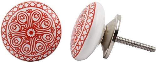 12 pomelli in ceramica dipinta a mano per armadietti e cassetti, stile vintage, con fiori in ceramica, per maniglie e cassetti (rosso)