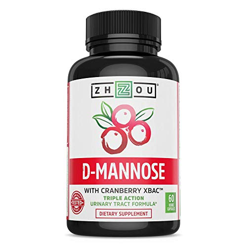 Zhou Nutrition d Mannose with Cranberry Concentrate Urinary Tract Formula - Triple Action Complex with Clinically Tested Cranberry Xbac Powder for Bacterial Antiadherance & Flushing Impurities - 60 V