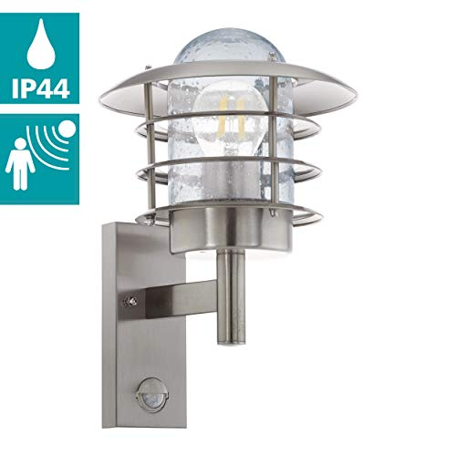 EGLO buiten-wandlamp Mouna, 1 vlammige buitenlamp incl. bewegingsmelder, sensor-wandlamp van roestvrij staal, kleur: zilver, glas: helder, fitting: E27, IP44