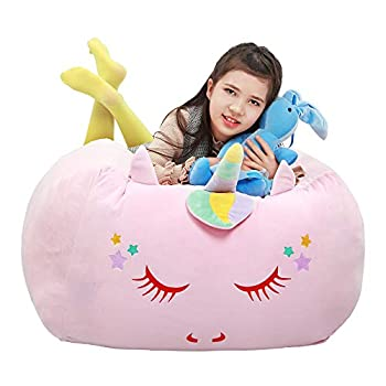Unicorn Stuffed Animal Toy Storage Kids Bean Bag Chair Cover Only Velvet Extra Soft Stuffed Organization Replace Mesh Toy Hammock for Kids Blankets Towels Clothes Home Supplies Pink