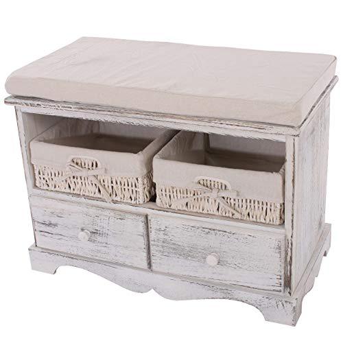 Mendler Sitzbank Kommode mit 2 Körben 42x62x33cm, Shabby-Look, Vintage ~ weiß