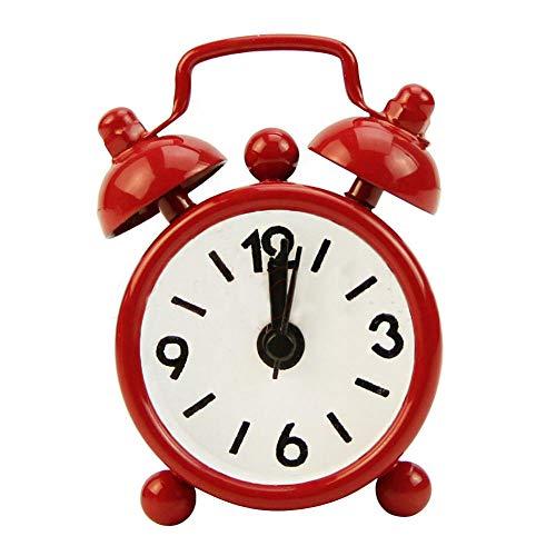 FPRW wekker met dubbele bel, horloges voor studenten, kinderen, stil, klassiek, modieus, draagbaar, rood, 8 x 4,5 x 12 cm