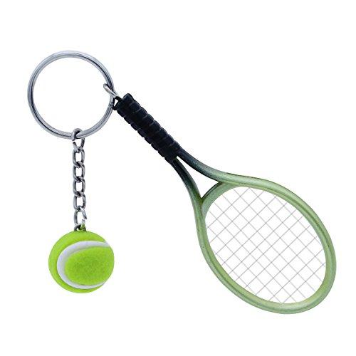 TOYMYTOY Tennis Schläger Keychain, grüner Sport Schlüsselring der Neuheit, Mini Tennisball Anhänger Geschenke, Farblich Sortiert