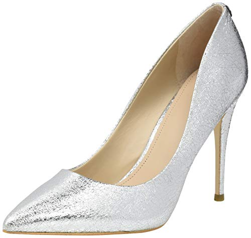 Guess Damen Okley3/Decollete (Pump)/Leathe Pumps, Silber/schwarz, 35 EU