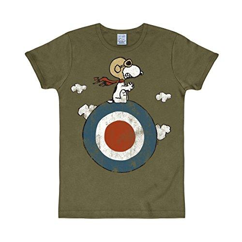 Logoshirt Comics - Peanuts - Blanco - Snoopy - Piloto - Camiseta - Slim-Fit - Verde Oliva - Diseño Original con Licencia, Talla S
