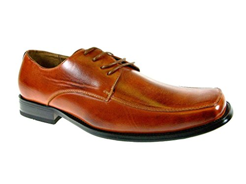 Delli Aldo Men's 19033-Brown Classic Squared Toe Lace Up Shoes, Brown, 7.5