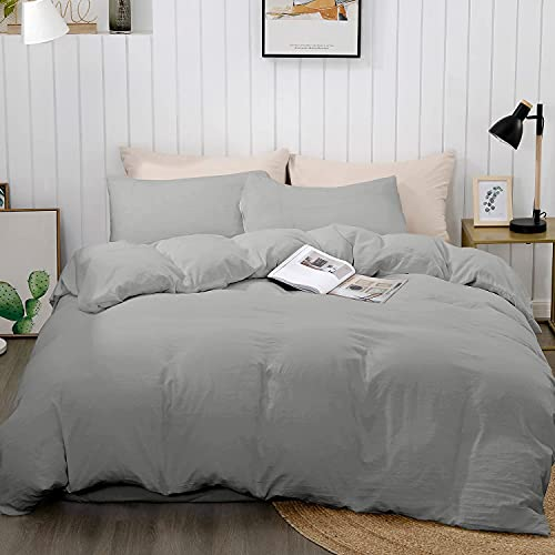 """BEDELITE Duvet Cover Queen Size, Gray Lightweight Comforter Cover, Soft Quilt Cover with Zipper Closure - 3 Pieces (Full Duvet Cover 90""""x90""""+ 2 Pillow Shams)"""
