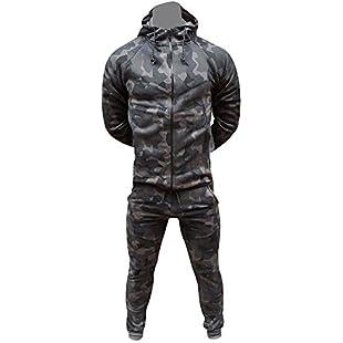 Men's Army Camouflage Design Camo Tracksuit Hoodie Zipper Joggers 2 Piece Designer Suit